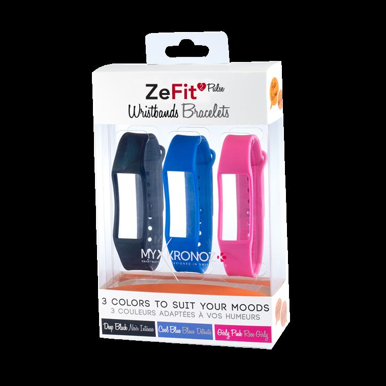ZeFit2Pulse Armbänder x3 - Tragen Sie jeden Tag eine andere Farbe - MyKronoz