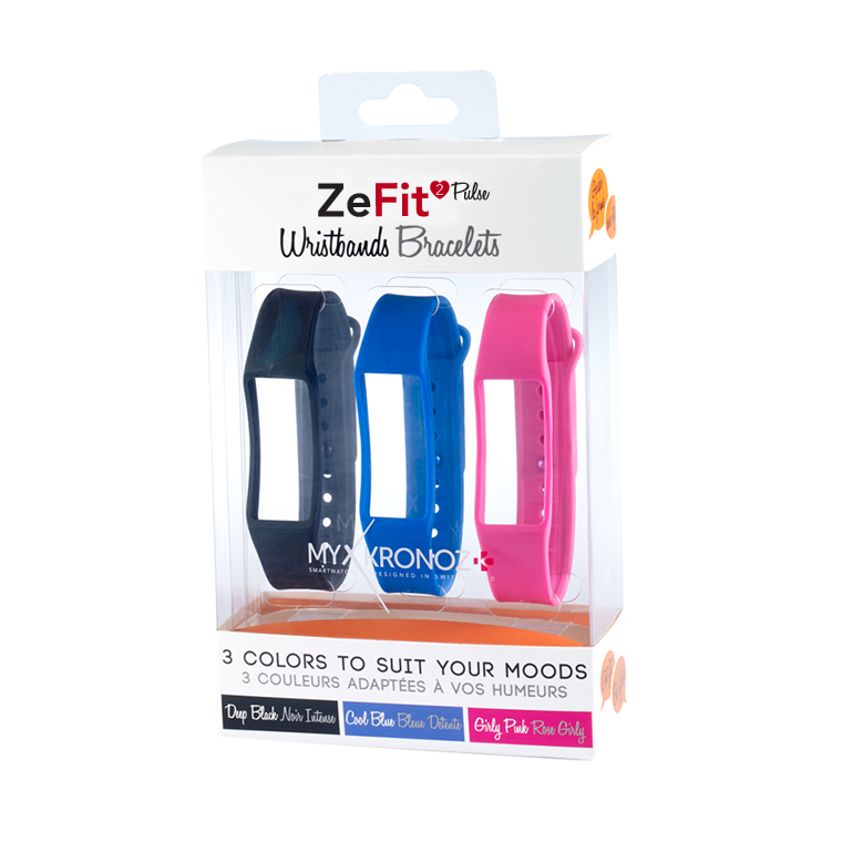 ZeFit2Pulse Wristbands x3 - Wear different colors every day - MyKronoz